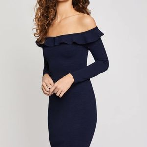 BCBG MIDI LENGTH BODYCON NAVY DRESS